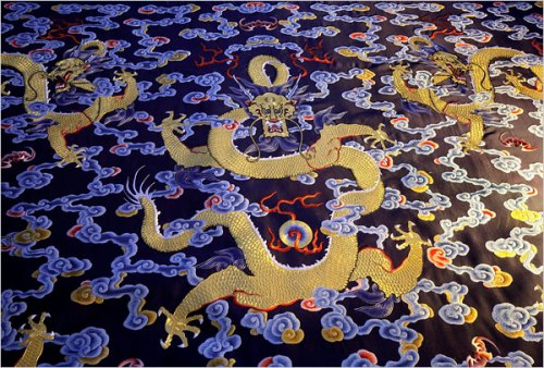 A gorgeous blue and gold textile pattern in the Qianlong style rediscovered at the Forbidden City
