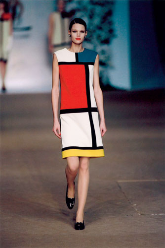 A Mondrian-inspired dress from Yves Saint Laurent's famous 1965 collection