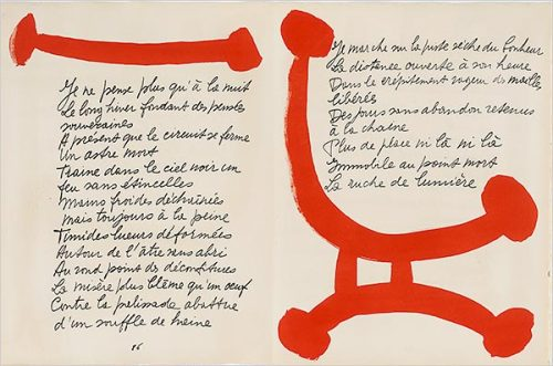 "1948 lithographic edition of Pierre Reverdy's ""Song of the Dead,"" to which Picasso contributed calligraphic designs."