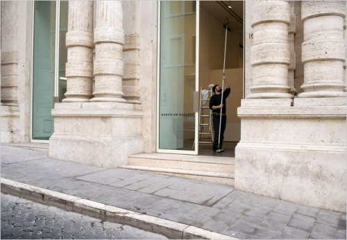 The entrance to Gagosian Gallery in Rome, the worldwide gallery network seems to be pulling art sales out of thin air