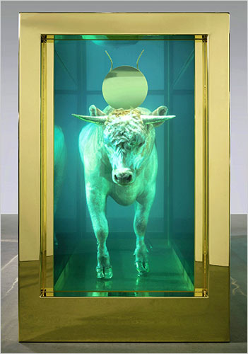 "The age of conspicuous consumption of shocking conceptual art such as Damien Hirst's ""Golden Calf"" that sold for $18.6 million last year, is most likely over"