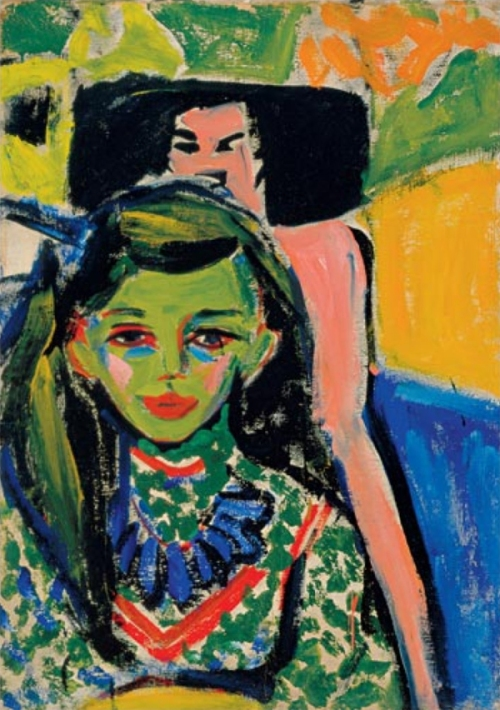Ernst Ludwig Kirchner (1880-1938) Fränzi in front of Carved Chair, 1910 Oil on canvas, 71 x 49.5 cm (28 x 19 1/2 in.). Museo Thyssen-Bornemisza, Madrid