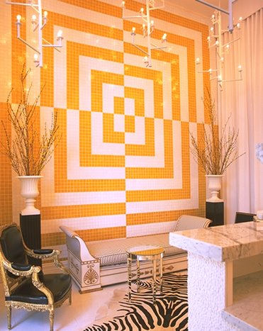 Kelly Wearstler's black, white, and yellow color scheme for the Viceroy Palm Springs